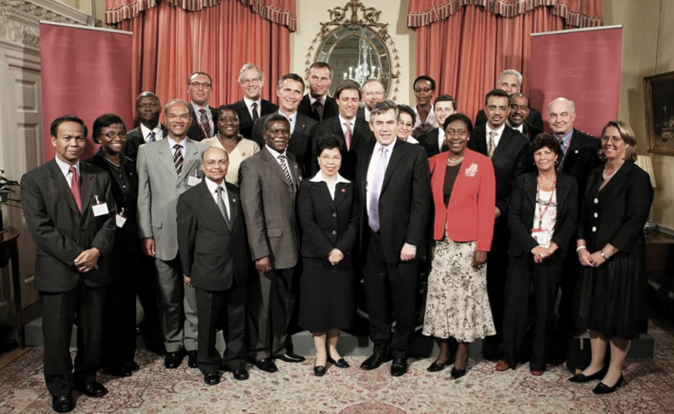 With British PM Gordon Brown, WHO DG Margaret Chan and global health leaders at launch of International Health Partnership