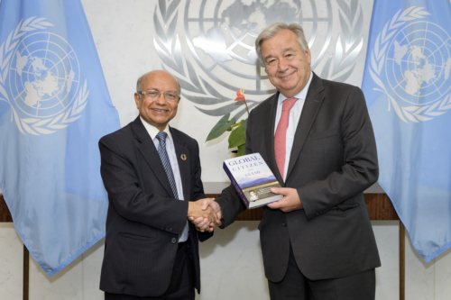 Kul Gautam with UN Secretary General António Guterres