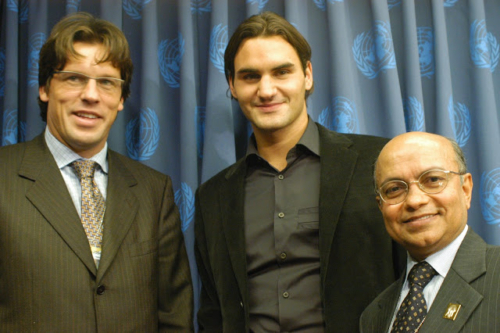 With Johann Olav Koss and Roger Federer - 2004